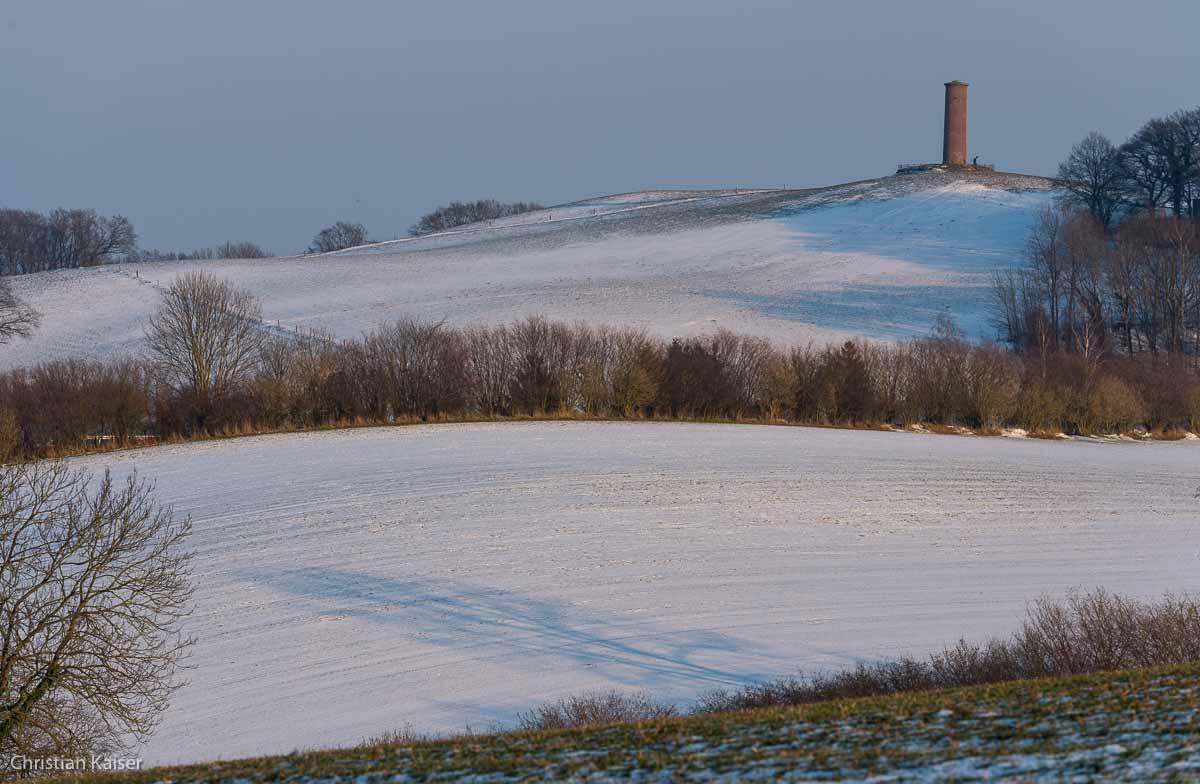 Winterlicher Knick auf verschneitem Feld bei Gömnitz nahe Neustadt OH