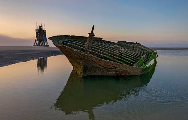 Wreck of Ulpiano iron sailing vessel built in England in the wadden sea of north sea germany