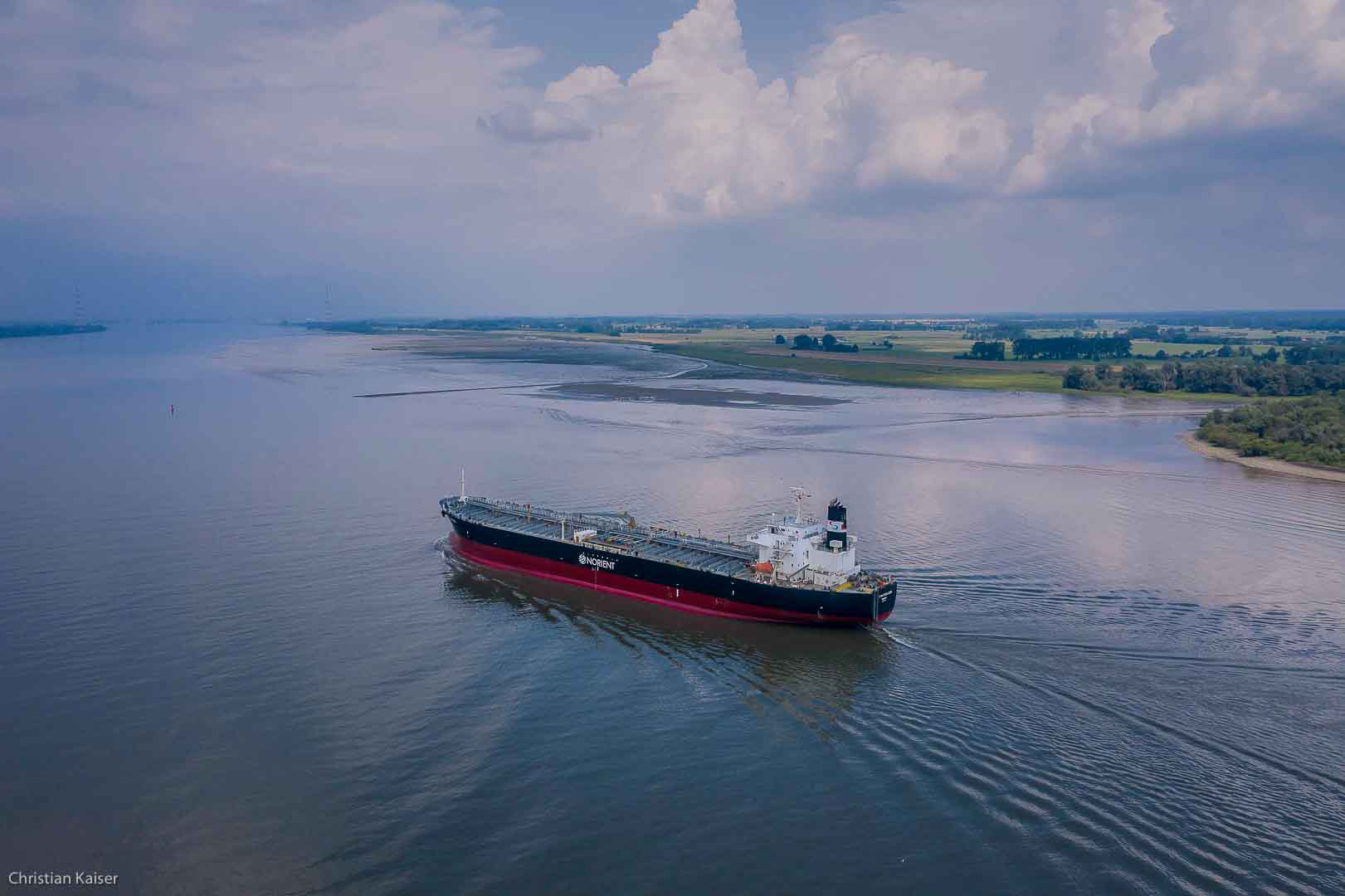 Vessel sailing Elbe river downstram
