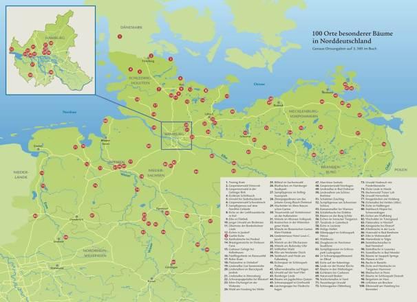 Die Karte zeigt mehr als 100 sehenswerte Bäume und Waldgebiete in Norddeutschland von Flensburg bis Göttingen und Frankfurt/Oder bis Cuxhaven