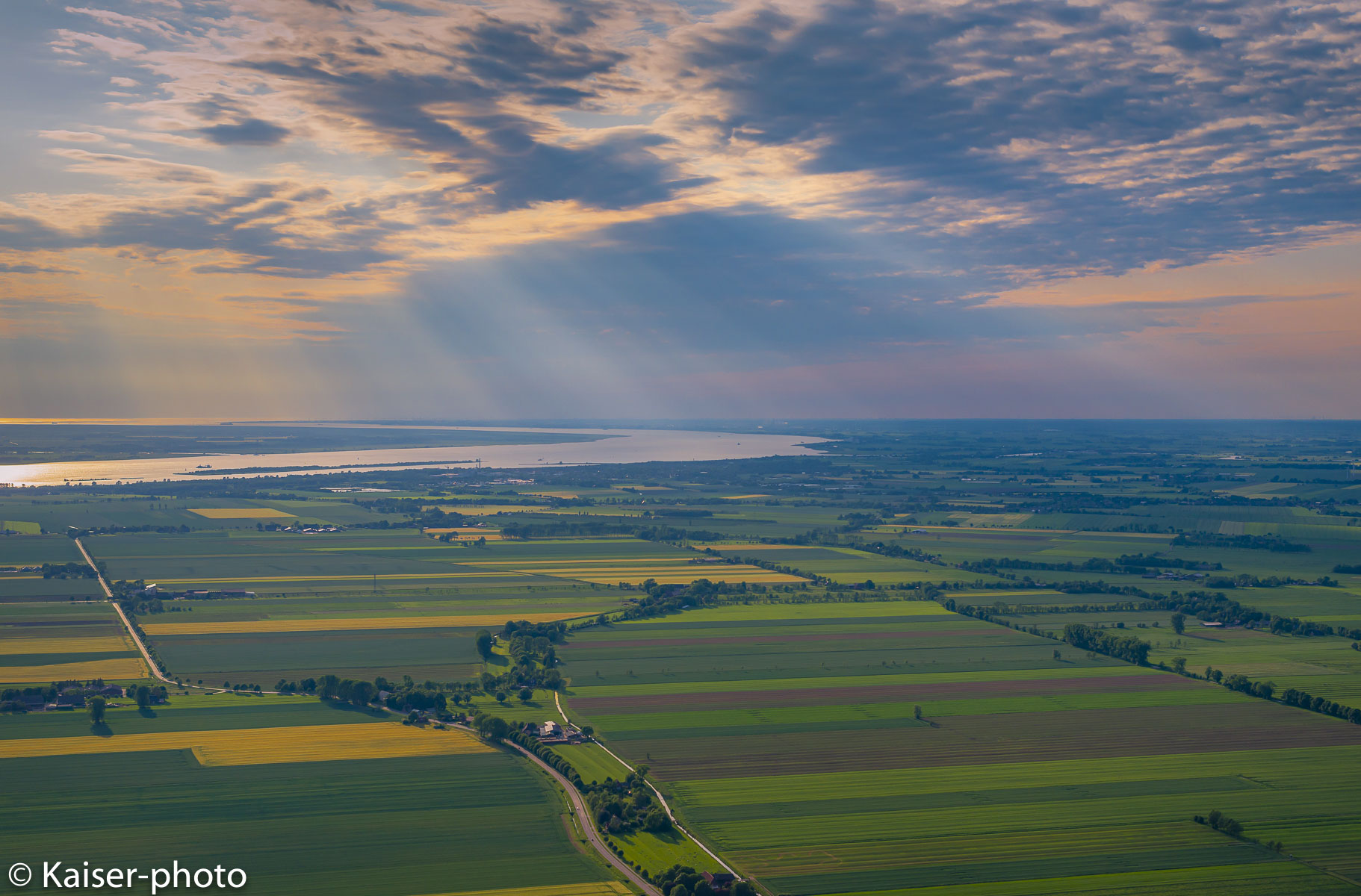 aerial view on Elbe river an river marshes