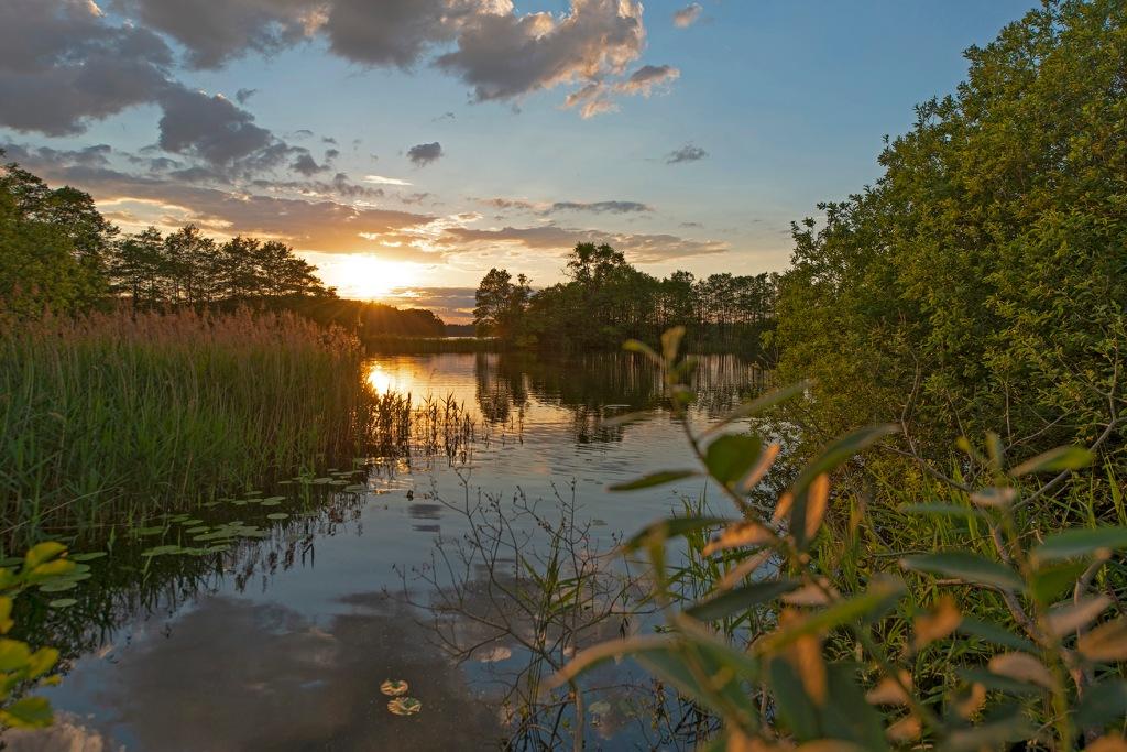Lassahner See, Schaalsee, Abendlicht, Sonnenuntergang, Biosphaerenreservat, Mecklenburg